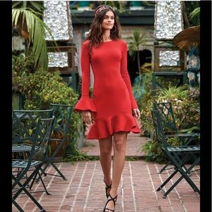 Gianni Bini isla bell sleeve ruffle red dress